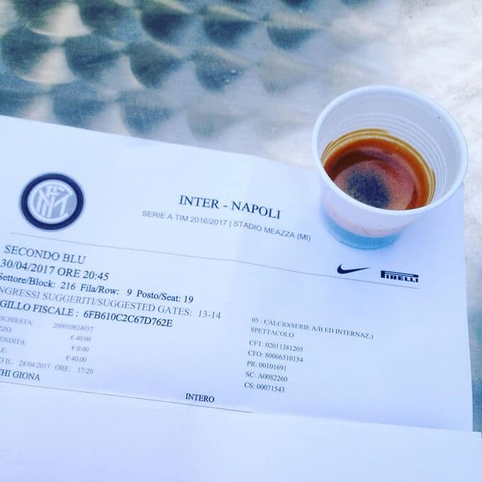 Il caffè del Chiosco Gli Sfiziosi allo stadio di San Siro