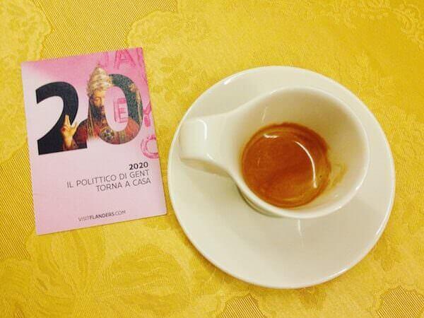 il caffè del catering dell'evento organizzato da Fiandre Turismo al Palazzo Reale di Milano